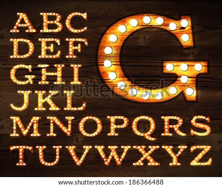 vector of letters in retro