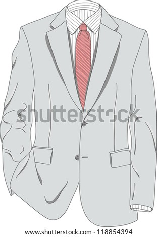 vector of light gray suit with red necktie