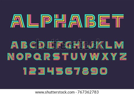vector of linear font and