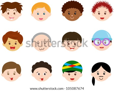 Vector of Little Boys, man men, Kids, male theme with different ethnics. A set of cute and colorful head icon collection isolated on white background