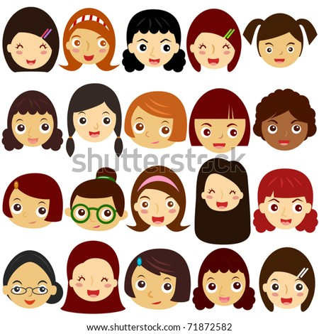 Vector of Little Girls, Woman, Kids, Female theme. A set of cute and colorful head icon collection isolated on white background