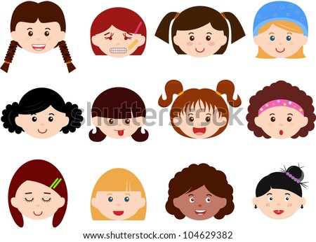 Vector of Little Girls, Woman, Kids, Female theme with different ethnics. A set of cute and colorful head icon collection isolated on white background
