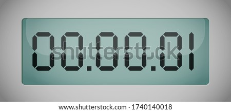 vector of luminous digital numbers - countdown timer. Digital countdown timer. Hour meter. Vector template for your design. 1 second time. The fist.vector chrome LCD counter - countdown timer
