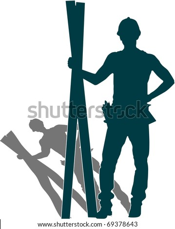 vector of man's silhouette  with work tools