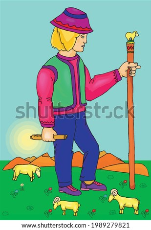 vector of man with stick and