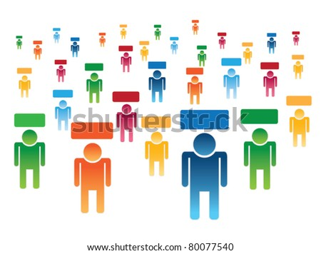 vector of many people with label overhead. Can be used with a variety of concepts.