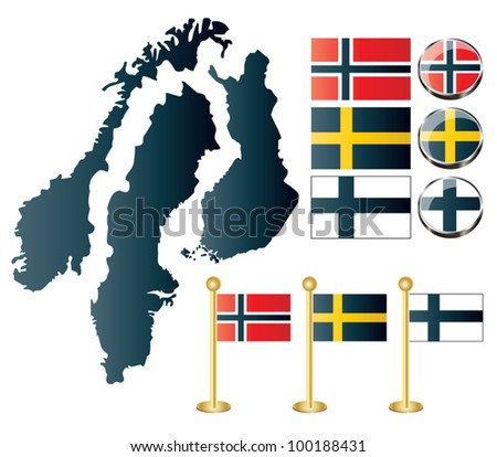Vector of maps of Norway, Sweden and Finland, and also flags and glossy buttons