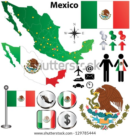 Vector of Mexico map with regions on white