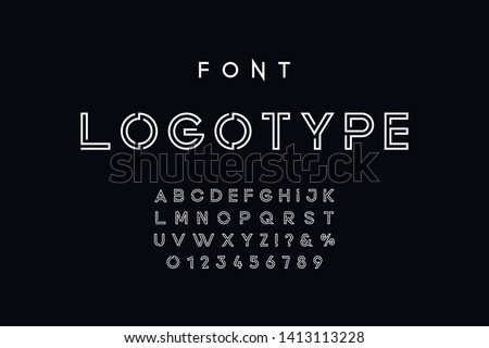 Vector of modern abstract font and alphabet. Geometric technology font. Modern futuristic design letters and numbers. Vector font for logo.