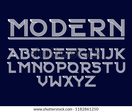 Vector of modern abstract Geometri font and alphabet