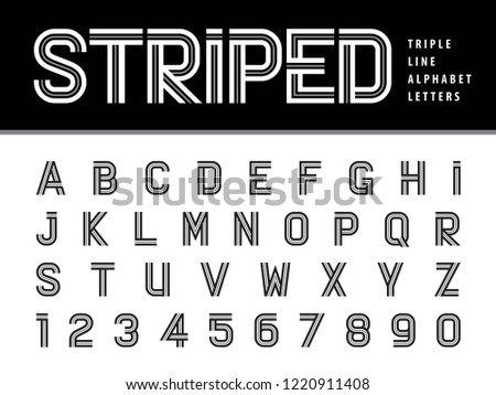 vector of modern alphabet letters and numbers triple line stripes font parallel stylized