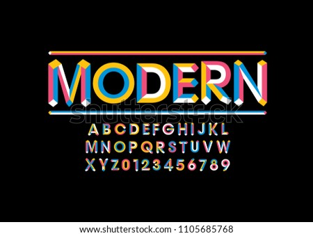 Vector of modern bold font and alphabet #1105685768
