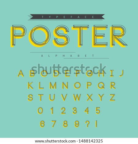 Vector of modern bold font and alphabet - Linear letters and numbers vector