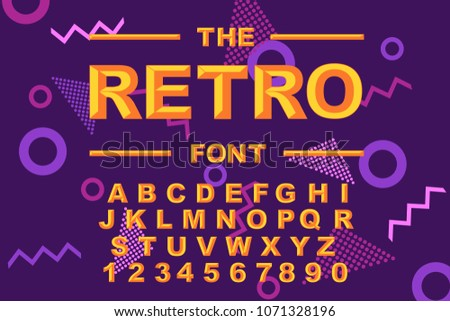 Vector Of Modern Bold Font And Alphabet Vintage 80s 90s Old Style