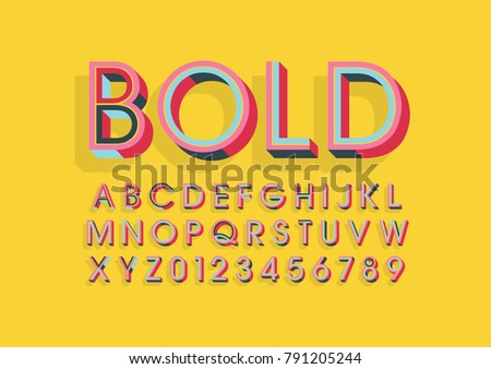 Vector of modern colorful font and alphabet #791205244
