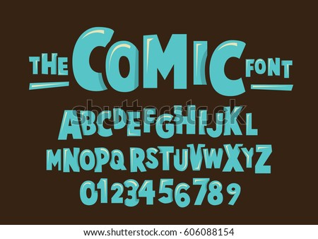 vector of modern comical font