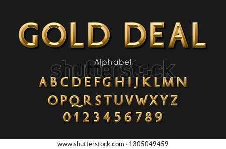 Vector of modern gold deal alphabet and font