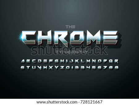 Vector of modern metallic bold font and alphabet