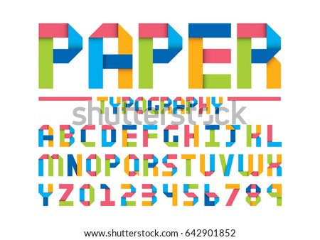 Vector of modern paper font and alphabet