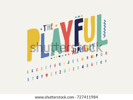 Vector of modern playful font and alphabet