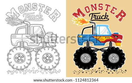 vector of monster truck cartoon