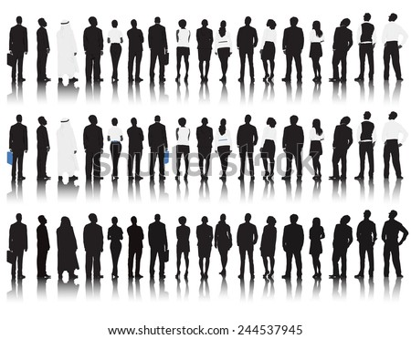 Vector of multi-ethnic business people rear view.