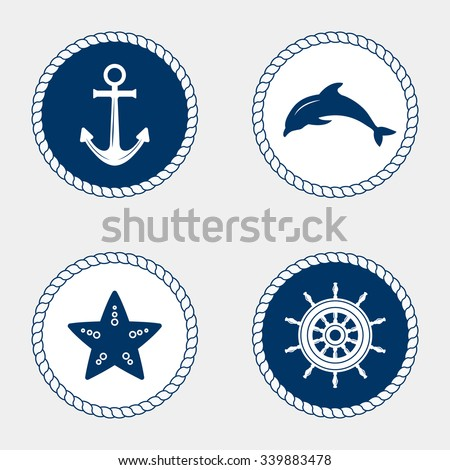vector of nautical and marine...