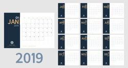 Vector of 2019 new year calendar in clean minimal table simple style and blue and orange yellow color,Holiday event planner,Week Starts Sunday.include holiday event.A5 size