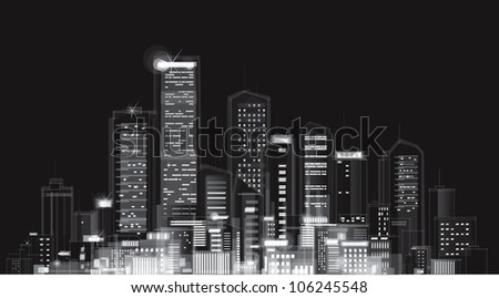 Vector of night city skyline