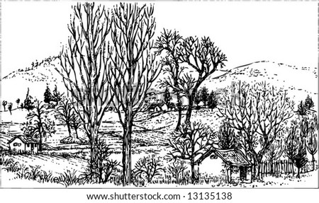 Vector of of a sketch of peaceful rural  life