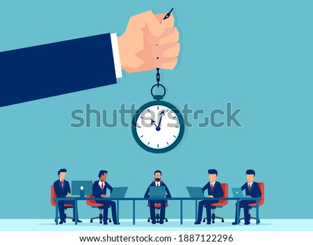 Vector of office workers working overtime being controlled by a supervisor with clock Foto stock ©