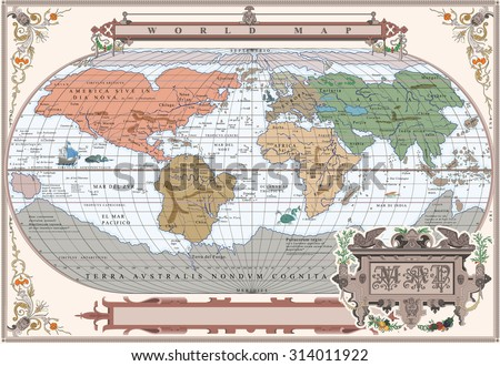 vector of old globe with water