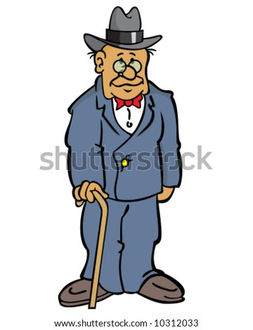 vector of older man wearing a suit, with glasses, a hat, and a cane