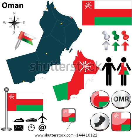 Vector of Oman set with detailed country shape with region borders, flags and icons