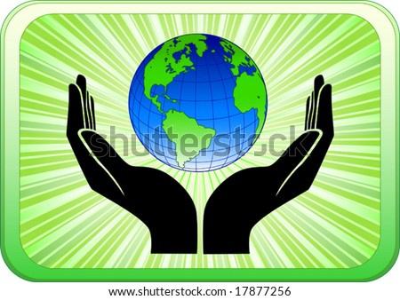 Vector of open hands holding earth
