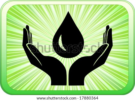 Vector of open hands with drop of oil