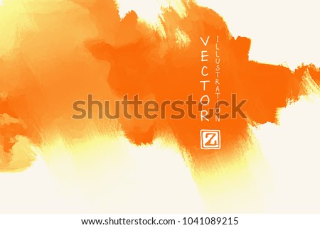 Vector of orange brush strokes poster. Grunge isolated elements. Smoke brushes for your design. Freehand. Watercolor splash. Acrylic stamp. Vector illustration