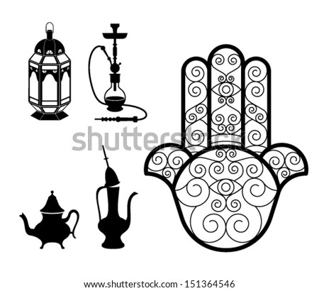 vector of oriental and typical objects isolated on white :Hookah, lantern, Hamsa Hand (khomsa) and tea pot