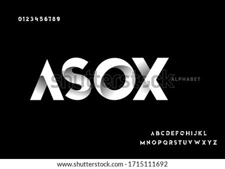 Vector of paper folding alphabet. 3D vector font
