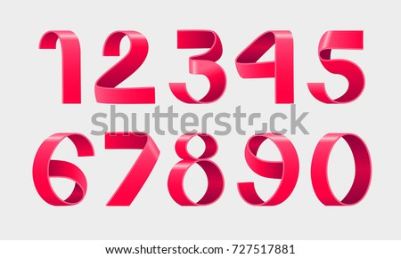 Vector of paper folding numbers. Red Ribbon script font. Vector of modern stylized paper font. Alphabet letters. 3d number set. Elements design. Celebration logo.