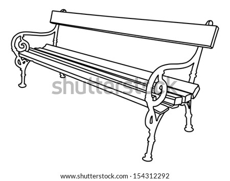 Vector Of Park Bench Isolated On White Background