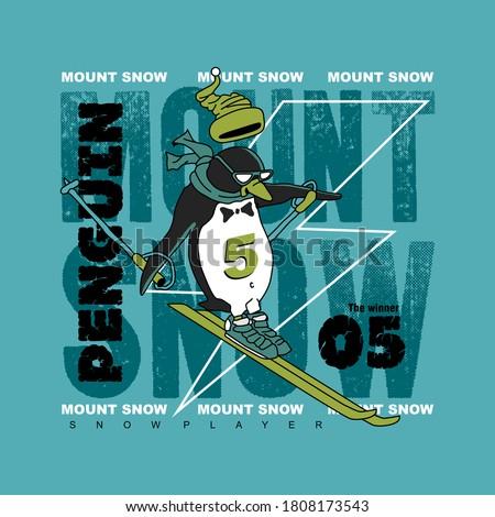 vector of penguin, snow player of penguin, mount snow, animal, sport, cute penguin for t shirt etc.