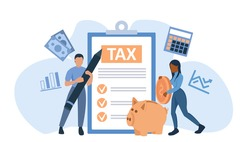 Vector of people man and woman filling tax return documents
