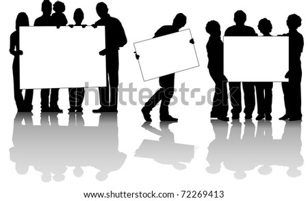 vector of people's groups with posters in white