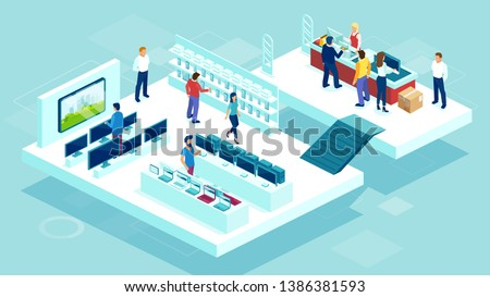 Vector of people shopping in a mall consumer electronics department with mobile phones, laptops, tv and audio equipment on shelves and customers buying gadgets