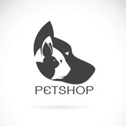 Vector of pets design on black background. Petshop, Dog, Cat, Rabbit, Animal Logo. Easy editable layered vector illustration. Pet group.