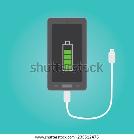 vector of phone charging