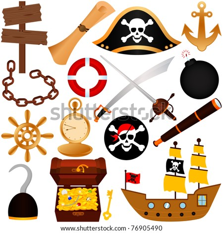 Vector of pirate theme with chest of gold, compass, map, sailing, attacking robbing equipments. A set of cute and colorful icon collection isolated on white background