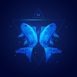 vector of pisces horoscope sign in twelve zodiac with galaxy stars background, vector of polygonal fish