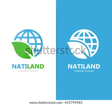 Vector of planet and leaf logo combination. World and eco symbol or icon. Unique globe and organic logotype design template.